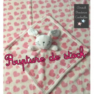 Doudou lapin rose & plaid...