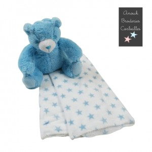 Peluche ourson bleu & plaid...